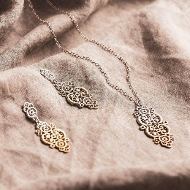 """Thank you so much Lisa from @rjspicergoldsmith 🙏🏻🌷. UK #cheltenham  """"We only stock a few jewellery ranges at RJ - because we feel passionately about well made, beautifully designed jewellery that compliments our bespoke work - Brigitte Adolph is one of them. This Silver lace pendant and drop pair of earrings with Rose & Yellow Gold ombré detail are just 🤍🖤  ///  #jewelry #jewelrygram #gold #accessories #handmadejewelry #instajewelry #jewellerydesign #jewelleryofinstagram #contemporaryjewellery #jewelleryworkshop #jewellerydesigner #bespokejewelry #bespokejewellery #statementjewelry #finejewellery #goldjewellery #jewelleryaddict #rosegold #eveningjewellery #silverjewellery #silverandgold #silverjewelry #yellowgold #beautifulgifts #weddingjewellery #earrings #brigitteadolph  #golds  #goldandsilverearrings"""